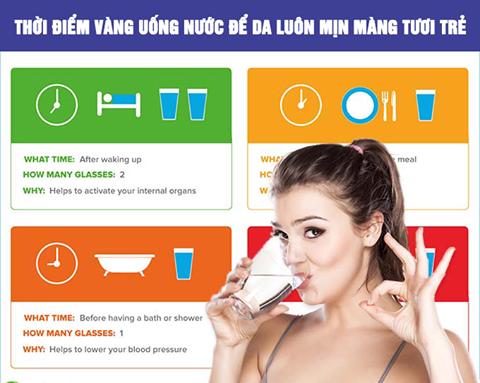 Thời điểm VÀNG cần uống nước để da luôn mịn màng tươi trẻ